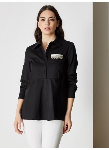 Vekem-Limited Edition Asimetrik Kesim Cep Detaylı Gömlek Siyah